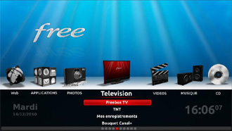 Interface de la Freebox Player